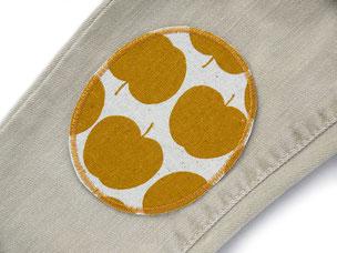 Bild: Flicken zum aufbügeln mit gelben Äpfeln, Apfel Bügelflicken für Kinder