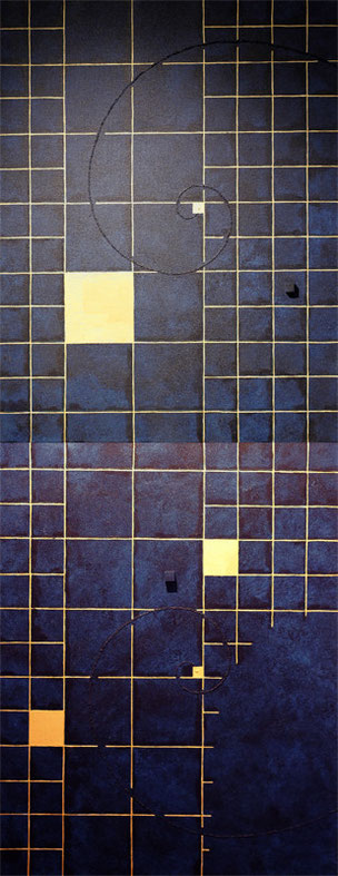 Golden Grid 7 kon   F6×2   318mm×820mm   Acrylic 2012