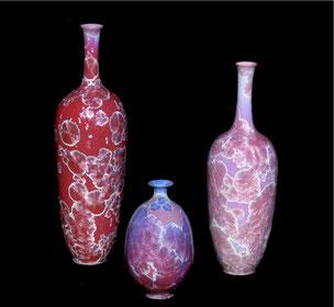 3 vases soliflors en camaïeux fuchsia