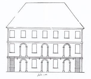 Plan (façade ouest) du projet de mairie-école de Cormaranche en 1841