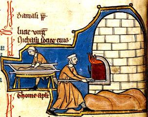 Cuisson du pain, extrait d'un psautier du XIIIe siècle, Belgique