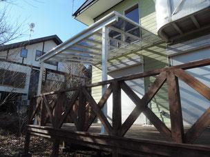 ヒノキデッキ+テラス屋根