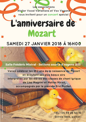 Concert samedi 27 janvier Seillons l'anniversaire de Mozart