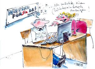 Wintereinbruch ... 2019 . Karikatur