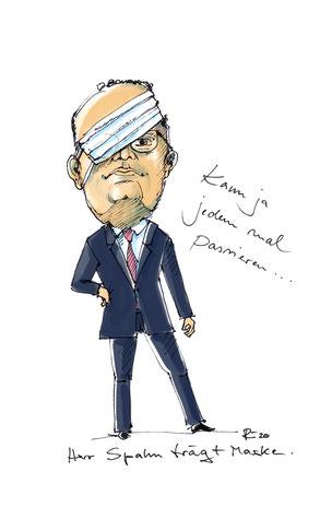 Minister Spahn lernt Maske tragen . 2020 . Karikatur