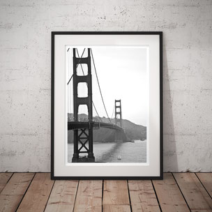 Monochrome Art Print 'Golden Gate Bridge, Nightfall' by PASiNGA