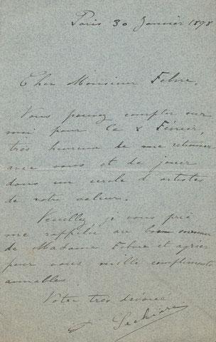 Pierre SECHIARI (1877-1932), violoniste, chef d'orchestre musique lettre autographe signée