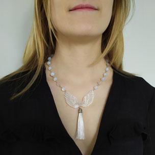"""Collier angélique """"Archange"""" avec cristal de roche"""