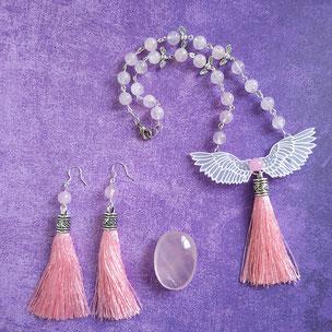 """Parure angélique """"Ange d'amour"""" avec quartz rose"""