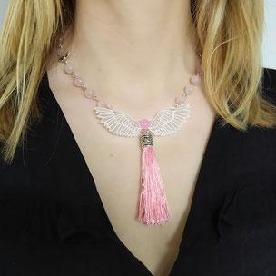 """Collier angélique """"Ange d'amour"""" avec quartz rose"""