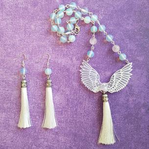 """Parure angélique """"Archange"""" avec cristal de roche"""