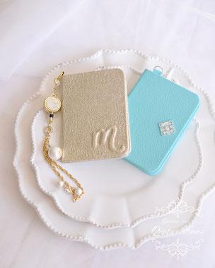 母の日 プレゼント パスケース おしゃれ ママ ティファニーブルー ミラー