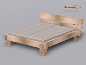 Balkenbett zirbe  Zirbenholzbett - Möbelmanufaktur Gruber Zirbenbett