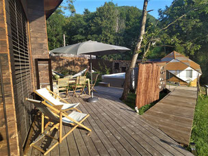ecolodge with wooden terrace