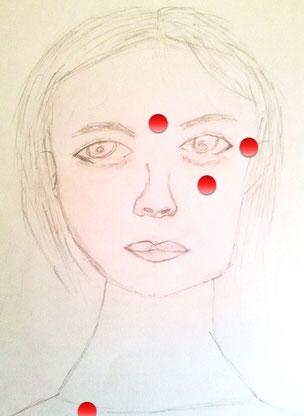 Gezeichnetes Gesicht mit den eingezeichneten Klopfpunkten zwischen, neben, unter dem Auge und Schlüsselbein