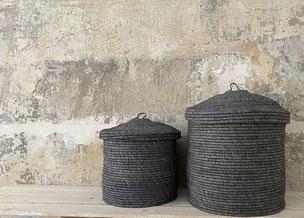 Runder Raffia Korb mit Deckel Handgemacht und Fair aus Madagaskar Grün Natur