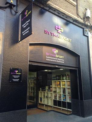 Rótulo, banderola, vinilo y metacrilato para tienda de nutrición en Zaragoza.