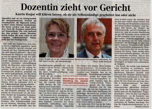 Eine DaF Dozentin an einer VHS stellt Antrag auf Statusfeststellung bei der Deutschen Rentenversicherung (Leipziger Volkszeitung, Juli 2013)