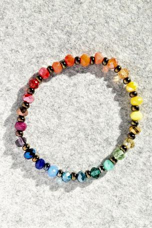 Regenbogenarmband Rund, facettierte Glasperlen, bunt, Regenbogen, Unikate, ff-Unikate
