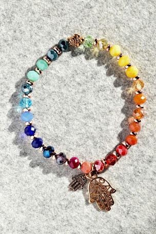 Regenbogenarmband Fartima Nr.2, Schildkröte, Hand, Fartima, Roségold, Bunt ,Unikate, ff-Unikate, Glas, Regenbogen