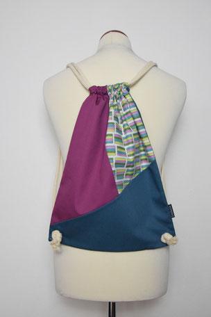 Rucksack Color Block 2, Bunt, Blau, Violett, Beutel, Tasche, Unikat, Unikate, Nachhaltig, Stoff, Baumwolle,