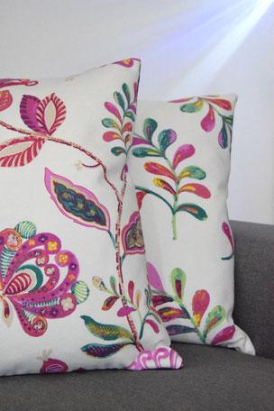 Kissenhülle Luise 2. 2er set, Kissen, Floral, Pflanzen, Blumen, Ranken, Stoff, Wohnen, Einrichten, Interieur, Unikat, Unikate, 50x50cm