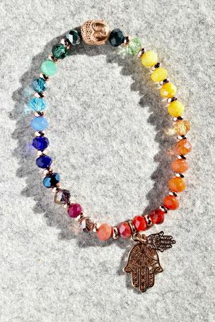 Regenbogenarmband Fartima Nr.3, Budda, Buddakopf, Hand, Fartima, Roségold, Bunt ,Unikate, ff-Unikate, Glas, Regenbogen
