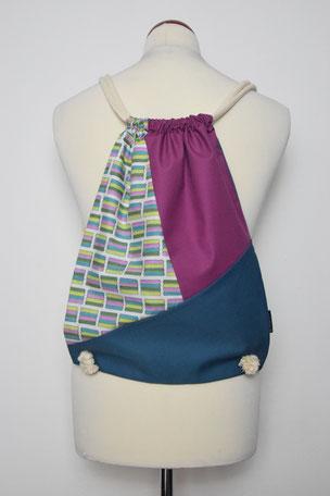 Rucksack Color Block 1, Bunt, Blau, Violett, Beutel, Tasche, Unikat, Unikate, Nachhaltig, Stoff, Baumwolle,