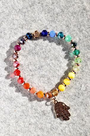 Regenbogenarmband Fartima Nr.4, Schildkröte, Hand, Fartima, Roségold, Bunt ,Unikate, ff-Unikate, Glas, Regenbogen