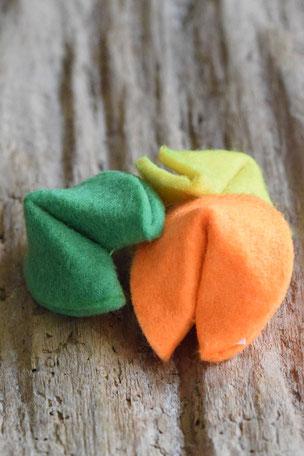 Motivations-Keks, Glückskeks, Filz, gelb, grün, orange, Geschenkartikel,