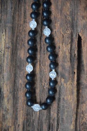 Edelsteinkette Onyx, Onyx, Bergkristall, Glass, Magnetverschluss, Schmuck, 43cm, Perlen,