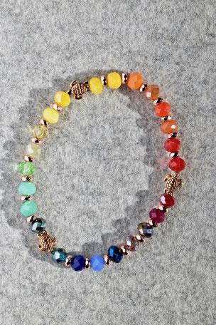 Regenbogenarmband dreier Schildkröten, Armband, bunt, Unikate, ff-Unikate, Facettierte Glasperlen, Hamatit, Schildgröte