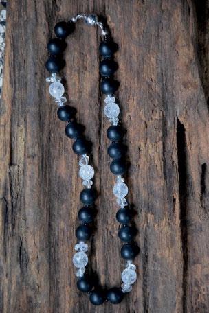 Edelsteinkette Berg Onyx, Onyx, Bergkristall, Glass, Magnetverschluss, Schmuck, 43cm, Perlen,