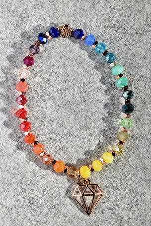 Regenbogenarmband Rose Diamant Nr.2, Armband, bunt, Unikate, ff-Unikate, Facettierte Glasperlen, Hamatit, Diamant, Anhänger, Schildgröte