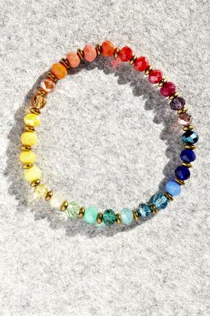 Regenbogenarmband Linse, Armband, bunt, Unikate, ff-Unikate, Facettierte Glasperlen, Hamatit,