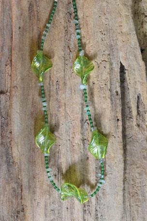 Edelsteinkette Glas Leaf, Blätter, Grün Fluorit, Kette