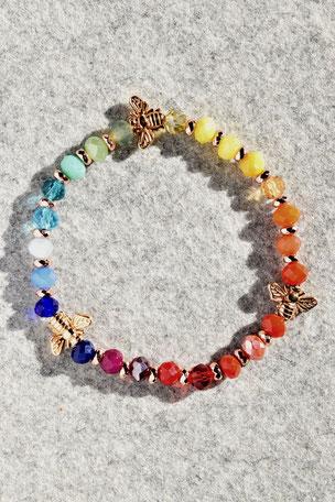 Regenbogenarmband Bienen, Armband, bunt, Unikate, ff-Unikate, Facettierte Glasperlen, Hamatit, Bienen, Biene, Tier
