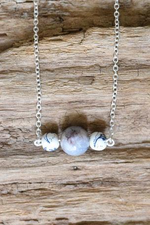 925 Sterling Silberkette Mineralperle 45cm lang, Urban, Kette, 925 Sterling Silber, Magnetverschluss, Mineralperle, Porzelanperle, Unikat, Unikate, Einzelstück