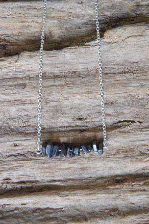 925 Sterling Silberkette Hämatit 45cm, Kette, Urban, 925 Sterling Silber, Hematit, Unikat, Unikate, Einzelstück