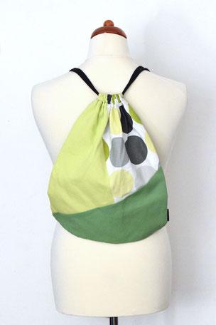 Rucksack Green Dot, Tasche, Beutel, Turnbeutel, Zugbeutel, Rucksack, Sporttasche, Bag, Gym Bag, Sportbag, Gymsack,  Unikate, Einzelstücke,