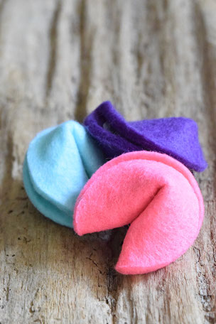 Einhorn-Kekse, Filz, pink, lila, blau, Glückskeks