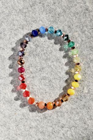 Regenbogenarmband Hematitwürfel Rosé, Unikate, ff-Unikate, Bunt, Hämatit,Hämatitlinsen, Glas