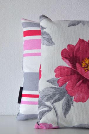 Kissenhülle Paula Pfingstrosen Streif, Kissen, Blumen, Unikate, Unikat, Streifen, Pink, Rosa, Grau, 25x40cm, Baumwolle