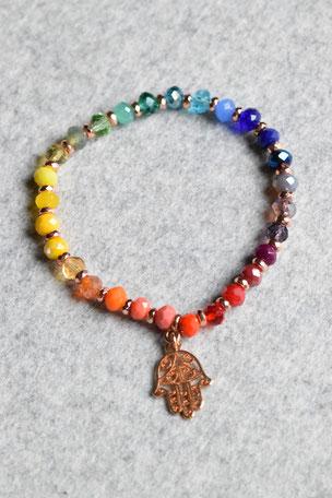 Regenbogenarmband Fartima, Hand, Fartima, Roségold, Bunt ,Unikate, ff-Unikate, Glas, Regenbogen