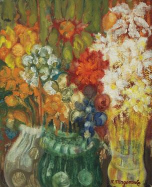 Notas de flores en las que predominan las esferorides - 38 x 46 cm - óleo/Dmp - Guillermo R. Mingorance