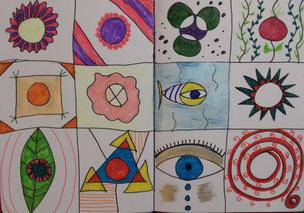 Experimentiere mit Formen und Mustern.