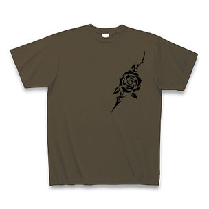 送料無料 トライバルフラワー(バラ)Tシャツ