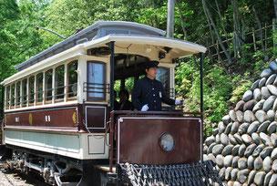 動態保存された日本最古の電車。当時の姿のまま、乗車することができます。