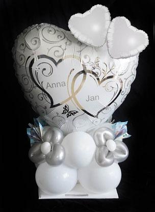 Luftballon Ballon Folienballon Hochzeit Trauung Standesamt Brautpaar Namen personalisiert Herz Geschenk Idee Mitbringsel Überraschung Geldgeschenk Geld Versand Box