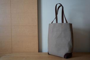 three bottles bag - 縦型キャンバスxレザーバッグ  ¥19,000